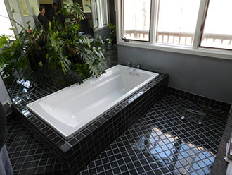 Bath Remodeling with black tile