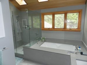 Bathroom Remodel with Cedar Roof, Skylights and Built-in Air Tub, Bethesda, MD