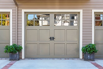 Close-up of Garage Door after addition