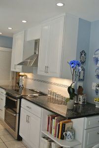 Design/Remodel White and Blue Kitchen with Chimney Vent, Rockville, MD
