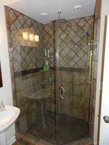 Recreation Room Bath Design/Remodel with Overhead Shower Head and Corner Shelves, Bethesda, MD