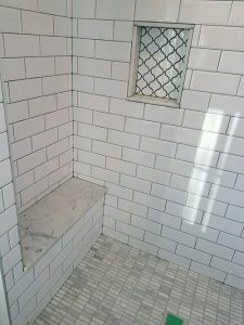 Spa Bathroom Design/Remodel with Tiled Shower with Bench and Built-in Shelf, Bethesda, MD